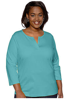 Kim Rogers Plus Size Three-Quarter Sleeve Split Neck Bio-Polished Knit Top