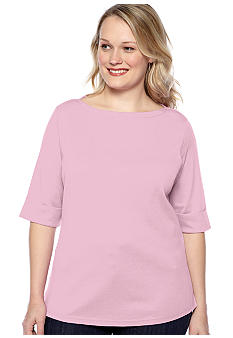 Kim Rogers® Plus Size Elbow Sleeve Boatneck Knit Top