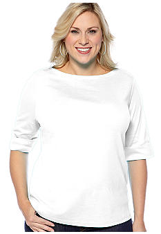 Kim Rogers Plus Size Elbow Sleeve Boatneck Knit Top