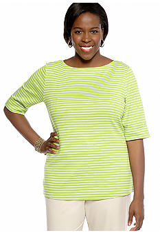 Kim Rogers Plus Size Striped Elbow Sleeve Boatneck Tee
