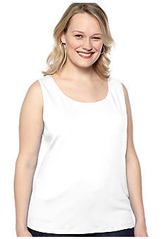 Kim Rogers Plus Size Scoop Neck Interlock Solid Tank