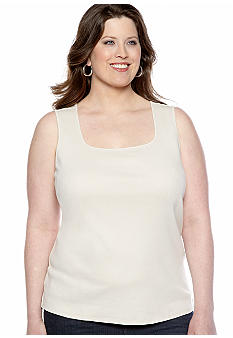 Kim Rogers Plus Size Solid Scoop Neck Tank