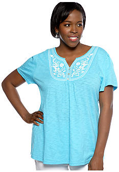 Kim Rogers Plus Size Embroidered Bib Short Sleeve Knit Top