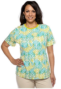 Kim Rogers Plus Size Medallion Crew Neck Tee