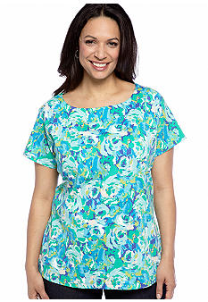 Kim Rogers Plus Size Floral Print Marilyn Neck Knit Top