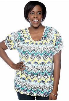 Kim Rogers Plus Size Peasant Native Printed Knit Top