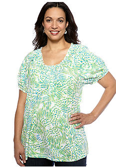 Kim Rogers Plus Size Peasant Catfight Knit Top