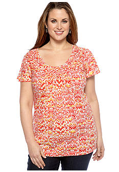 Kim Rogers Plus Size Flutter Sleeve Braided Neck Knit Top