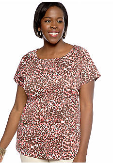 Kim Rogers Plus Size Marilyn Spot Mix Knit Top