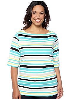 Kim Rogers Plus Size Stripe Elbow Sleeve Boatneck Knit Top