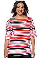 Kim Rogers® Plus Size Stripe Elbow Sleeve Boatneck Knit Top