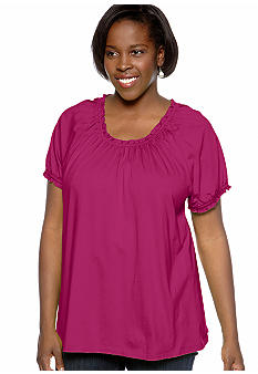 Kim Rogers Plus Size Solid Peasant Knit Top