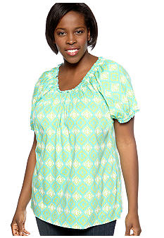 Kim Rogers Plus Size Tribal Printed Peasant Knit Top
