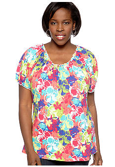 Kim Rogers Plus Size Printed Peasant Knit Top