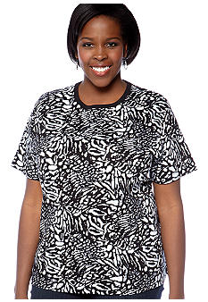 Kim Rogers Plus Size Cheetah Printed Short Sleeve Knit Tee