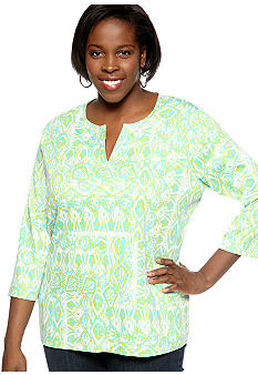 Kim Rogers® Plus Size Woodblock Tribe Printed Split Neck Tee
