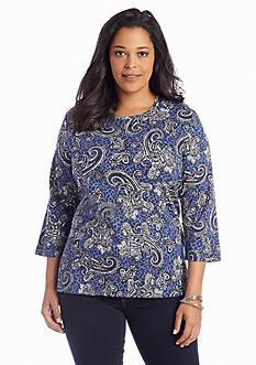 Kim Rogers® Plus Size Paisley Print Top