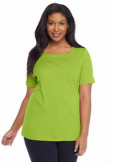 Kim Rogers Plus Size Short Sleeve Square Neck Tee
