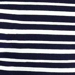 Women's Plus: Kim Rogers Tops: Navy/Ivory Kim Rogers Plus Size Striped Flap Pocket Henley Tee