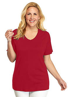Kim Rogers Plus Size Solid V-Neck Tee