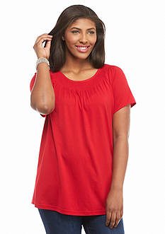 Kim Rogers Plus Size Solid Smock Neck Tee