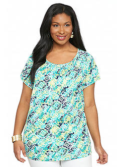 Kim Rogers Plus Size Aztec Party Smock Neck Top