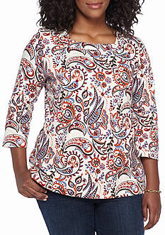 Kim Rogers Plus Size 3/4 Sleeve Square Neck Paisley Top
