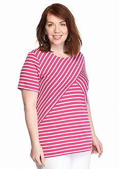 Kim Rogers Plus Size Stripe Splice Tee