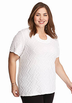 Kim Rogers Plus Size Split Neckline Textured Knit Top
