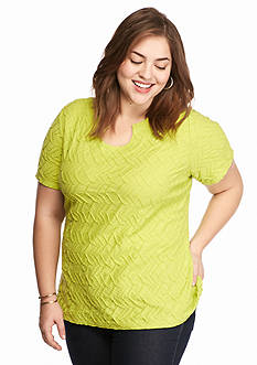 Kim Rogers Plus Size Split Neckline Textured Knit Top