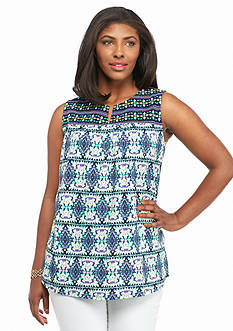 Kim Rogers Plus Size Tribal Print Embroidered Tank