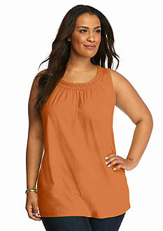 Kim Rogers Plus Size Solid Sleeveless Pucker Tunic Top