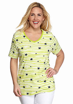 Kim Rogers Plus Size Stars And Stripes Tee
