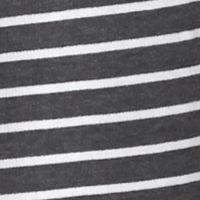Plus Size Tops: Knit Tops: Grey/White Kim Rogers Split Neckline Stripe Pull Over with Tassels