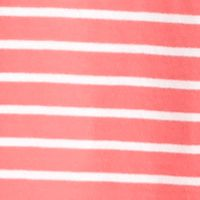 Plus Size Tops: Knit Tops: Sorbet/White Kim Rogers Split Neckline Stripe Pull Over with Tassels
