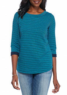 Kim Rogers Double Knit Boat Neck Stripe Top