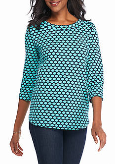 Kim Rogers Double Knit Boat Neck Knit Top