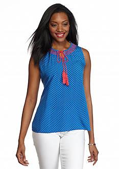Kim Rogers Sleeveless Polka Dot Peasant Shirt