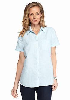 Kim Rogers Short Sleeve Linen Texture Shirt