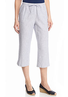 Kim Rogers Striped Linen Crop Pants