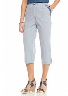 Kim Rogers Striped Lace Trim Pocket Capris