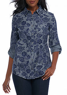 Kim Rogers Rolled Sleeve Chambray Floral Oxford Woven Top