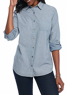 Kim Rogers Rolled Sleeve Chambray Geo Oxford Woven Top