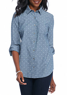 Kim Rogers Chambray Roll Sleeve Dot Shirt