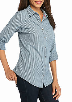 Kim Rogers Rolled Sleeve Chambray Stripe Woven