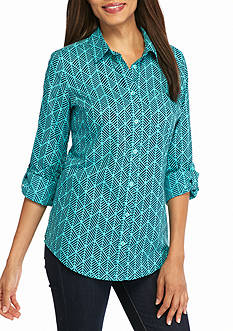 Kim Rogers Roll Sleeve Cambric Geo Direction Top