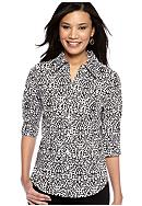 Kim Rogers® Party Brocade Print Woven Shirt