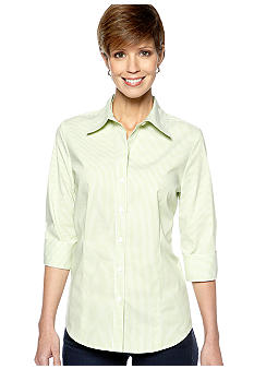 Kim Rogers Three Quarter Woven Basic Stripe Shirt