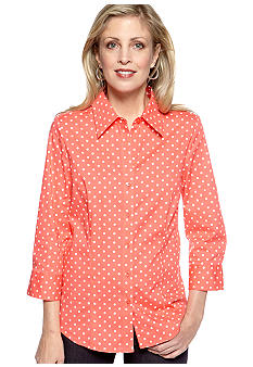 Kim Rogers Three Quarter Polka-Dot Button Up