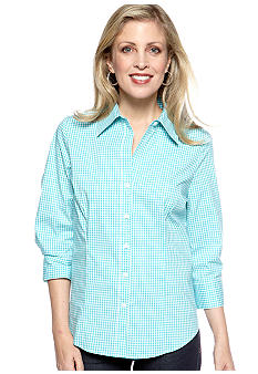 Kim Rogers Three Quarter Sleeve Gingham Woven